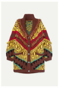 Etro - Oversized Fringed Wool-blend Cardigan - Yellow