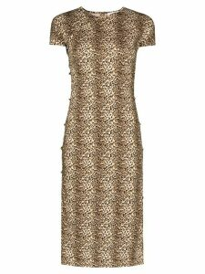 Marcia Tchikiboum leopard print midi dress - Brown