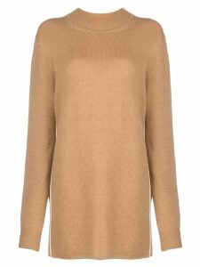Jil Sander fine knit longline jumper - Brown