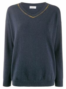 Brunello Cucinelli bead-embellished jumper - Blue