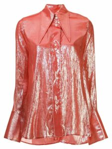 Ellery metallized pointed-collar shirt - Red