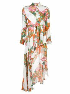 Palmer / Harding long asymmetric floral print shirt - White
