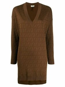 Fendi FF logo long jumper - Brown