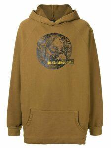 Komakino oversized graphic print hoodie - Brown