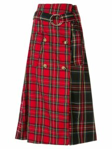 Andrea Crews tartan A-line midi skirt - Red