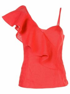 Rebecca De Ravenel asymmetric ruffled top - Red