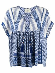 Cecilie Copenhagen Sammy patterned tied neck blouse - Blue