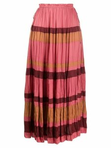 Ulla Johnson striped pleated midi skirt - PINK