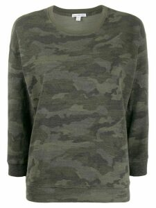 James Perse camo-print round neck jumper - Green