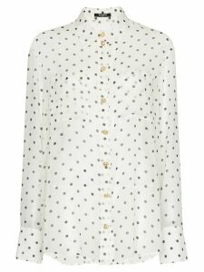 Balmain polka dot sheer shirt - White