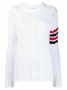 Thom Browne 4-Bar Aran Cable Knit Jumper - White