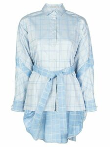 Palmer / Harding tie waist checked pattern shirt - Blue