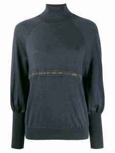 Brunello Cucinelli bead-embellished turtleneck jumper - Blue