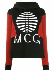 McQ Alexander McQueen logo colour-block hoodie - Black