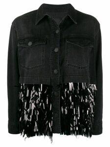 Pinko contrast sequin-embellished denim jacket - Black