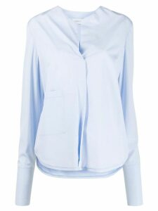 Christian Wijnants collarless poplin shirt - Blue