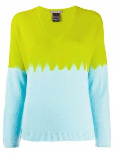 Suzusan v-neck colour blocked jumper - Green