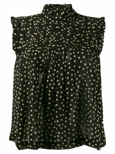 GANNI polka dot chiffon top - Black