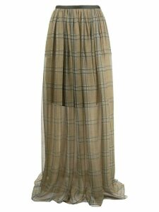 Brunello Cucinelli plaid maxi skirt - NEUTRALS