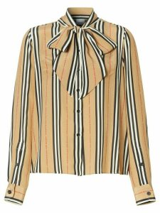 Burberry Icon Stripe pussy-bow blouse - NEUTRALS