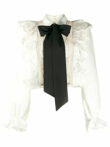 Self-Portrait ruffled lace bow detail blouse - White