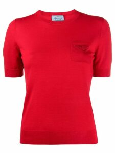 Prada logo print short-sleeved jumper - Red