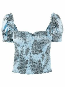 Sandro Paris Beleen smocked paisley-print top - Blue