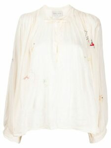 Forte Forte embroidered flared blouse - NEUTRALS