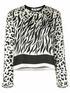 Pinko multi-print round neck blouse - Black