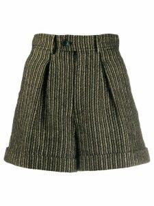 Saint Laurent striped high-waisted shorts - Black