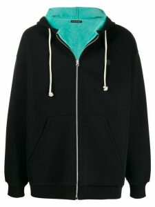 Acne Studios Face zipped hooded sweatshirt - Black