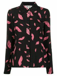 DVF Diane von Furstenberg falling lips print shirt - Black