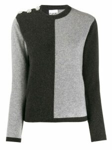 GANNI colour-block jumper - Grey