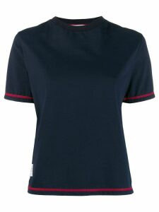 Thom Browne contrast cover stitch side slit T-shirt - Blue