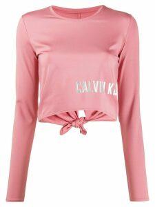 Calvin Klein metallic logo print cropped top - PINK