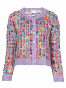 Alice+Olivia Devona crew neck cardigan - PURPLE