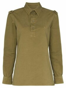 Saint Laurent long-sleeved safari polo shirt - Green