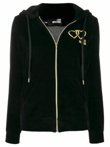 Love Moschino embroidered velour hoodie - Black