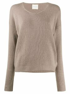 Fine Edge v-neck fine knit jumper - NEUTRALS