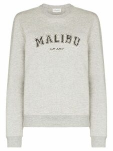 Saint Laurent Malibu-print cotton-blend sweatshirt - Grey