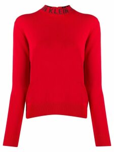 Calvin Klein Jeans logo collar fine knit sweater - Red