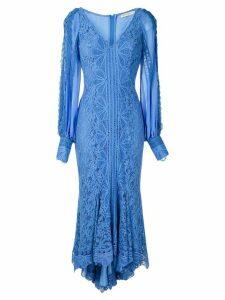 Martha Medeiros Agatha lace midi dress - Blue