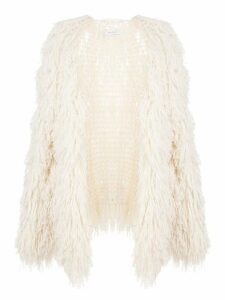 Ryan Roche loose-fit fringed cardigan - White