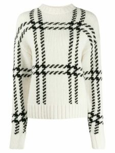 Ami Paris Oversize Check crew neck Sweater - NEUTRALS
