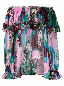 Emilio Pucci printed off shoulder blouse - PINK