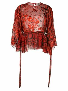 Preen By Thornton Bregazzi Delma snakeskin prit blouse - Red
