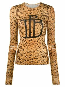 Preen By Thornton Bregazzi Audrine snakeskin print top - ORANGE