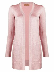 Missoni long-line metallic knit cardigan - PINK