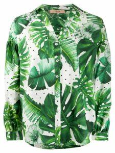 Twin-Set leaf print cotton shirt - Green