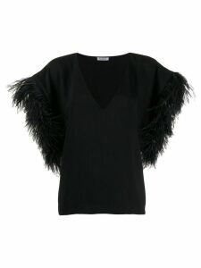 P.A.R.O.S.H. oversized feather sleeved top - Black